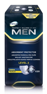 TENA MEN LEVEL 2 absorpčné vložky pre mužov, Medium, 1x20 ks