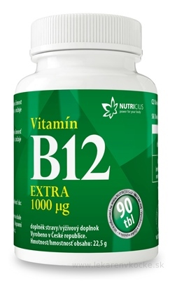 NUTRICIUS Vitamín B12 EXTRA 1000 μg tbl 1x90 ks