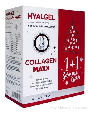 HYALGEL COLLAGEN MAXX Vianočné balenie tekutý prípravok s pomarančovou príchuťou (1+1 zdarma) 2x500 ml (1000 ml), 1x1 set