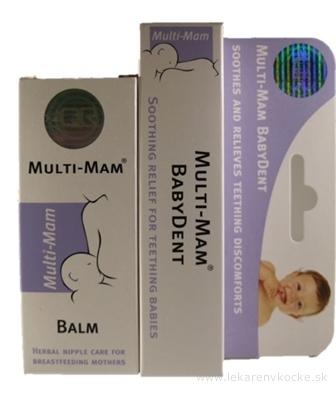 MULTI-MAM BABYDENT + MULTI-MAM BALM gél na prerezávajúce sa zúbky 15 ml + balzam na bradavky pri dojčení 30 ml, 1x1 set