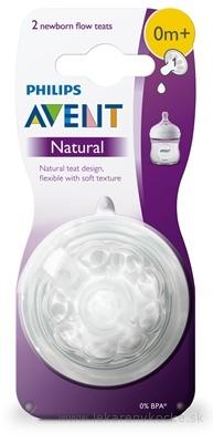 AVENT Cumlík na fľašu Natural č.1 0m+, silikónový extra mäkký, novorodenecký, 1x2 ks