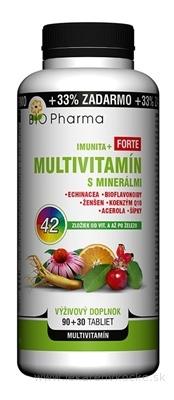 BIO Pharma Multivitamín s minerálmi IMUNITA+ FORTE tbl 90+30 (33% ZADARMO) 42 zložiek (120 ks)