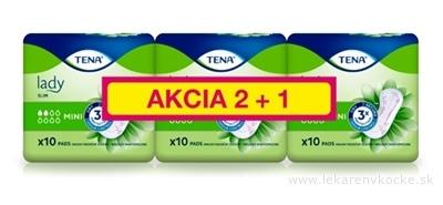 TENA Lady Slim MINI AKCIA 2+1 absorpčné vložky (inov.2019) 3x10 (30 ks), 1x1 set