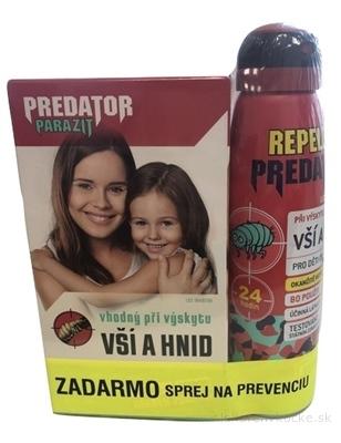 PREDATOR PARAZIT pri výskyte vší a hníd PACK (sérum 100 ml + šampón 100 ml + hrebeň) + REPELENT sprej JUNIOR zadarmo, 1x1 set