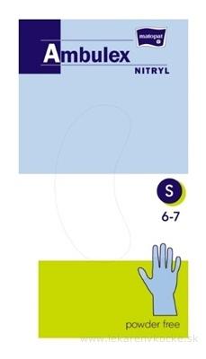 Ambulex rukavice NITRYLOVÉ veľ. S, modré, nesterilné, nepúdrované, 1x100 ks