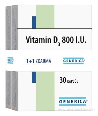 GENERICA Vitamin D3 800 I.U. AKCIA (1+1 zdarma) cps 2x30 ks, 1x1 set