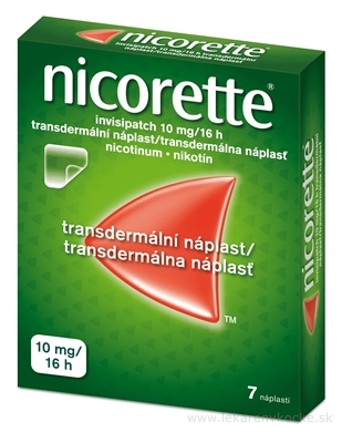 Nicorette invisipatch 10 mg/16 h transder. náplasť emp tdm (vrecko papier/PET/Al-PAN) 1x7 ks