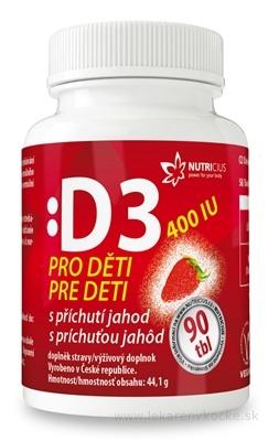 NUTRICIUS Vitamín D3 pre deti 400 IU s príchuťou jahôd tbl 1x90 ks