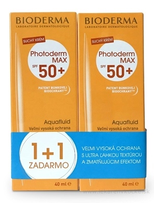 BIODERMA Photoderm BALÍK MAX SPF50+ Aquafluid (1+1 zadarmo) 2x40 ml, 1x1 set