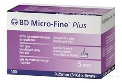 BD MICRO FINE PLUS inzulínové ihly 31G - ihly do aplikátorov inzulínu (0,25 x 5 mm) 10x10 ks