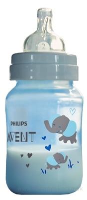 AVENT FĽAŠA PP Antikolik 260 ml Modrá - sloník, antikolikový mäkký cumlík pomalý prietok 2 otvory, 1x1 ks