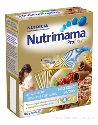 Nutrimama Profutura cereálne tyčinky Brusnice & Čokoláda (pre kojacie matky) 5x40 g (200 g)