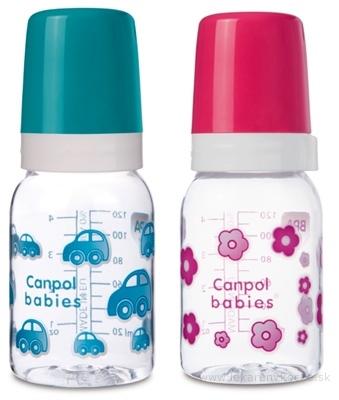 Canpol Babies Fľaša Dekor 120 ml plast, silikónový cumlík 3m+, 1x1 set