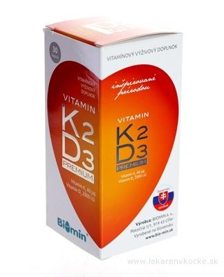BIOMIN VITAMIN K2 D3 PREMIUM 2000 I.U. cps (inov.2018) 1x30 ks