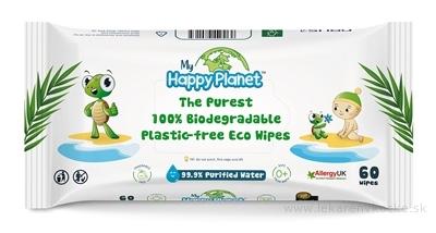 AQUAINT HAPPY PLANET 100% bio odbúrateľné utierky vlhčené, bez parfému a alkoholu 1x60 ks