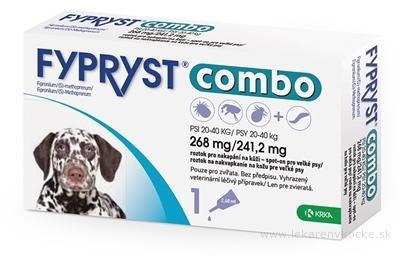 FYPRYST combo 268 mg/241,2 mg PSY 20-40 KG roztok na kvapkanie na kožu pre veľké psy (pipeta) 1x2,68 ml
