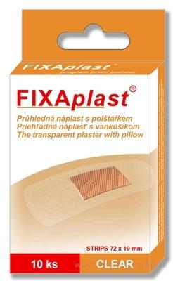 FIXAplast CLEAR strip priehľadná náplasť s vankúšikom 72x19 mm, 1x10 ks