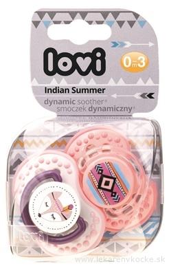 LOVI Dynamický utišujúci cumlík Indian Summer (0-3m) Girl, 1x2 ks