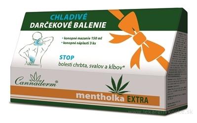 Cannaderm MENTHOLKA EXTRA - darčekové balenie chladivé konopné mazanie 150 ml + mentholka náplasť 3 ks, 1x1set