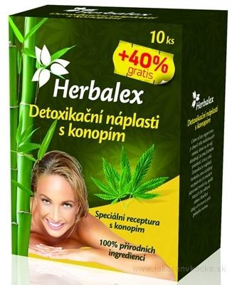Herbalex Detoxikačné náplasti s konopou 10 ks + 40% gratis (14 ks)