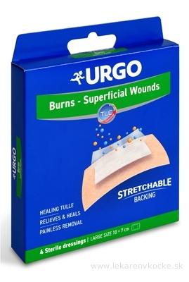 URGO Burns Na popáleniny lipidokoloidná náplasť, sterilná, 10x7 cm, 1x4 ks