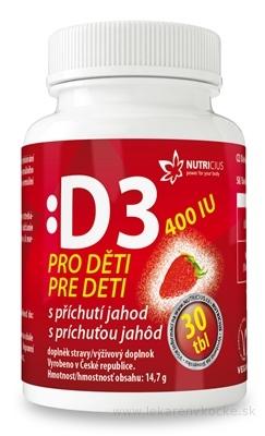 NUTRICIUS Vitamín D3 pre deti 400 IU s príchuťou jahôd tbl 1x30 ks
