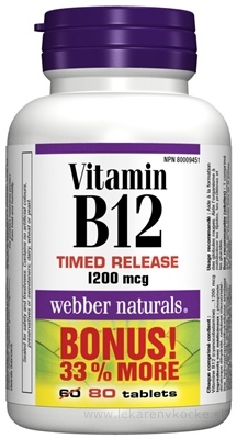 Webber Naturals Vitamín B12 1200 mcg tbl 1x80 ks