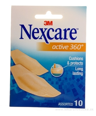 3M Nexcare ACTIVE 360° náplasti [SelP] 3 veľkosti, 1x10 ks
