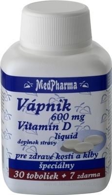 MedPharma VÁPNIK 600 mg + Vitamín D liq. cps 30+7 zadarmo (37 ks)