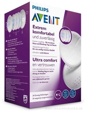 AVENT Ultra comfort PRSNÉ VLOŽKY jednorázové, absorpčné, laktačné, do podprsenky, 1x24 ks
