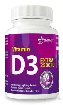 NUTRICIUS Vitamín D3 EXTRA 2500 IU tbl 1x30 ks
