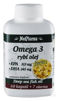MedPharma OMEGA 3 rybí olej forte - EPA, DHA cps 60+7 zadarmo (67 ks)