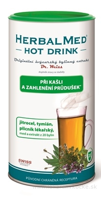 HERBALMED HOT DRINK kašeľ a priedušky-Dr.Weiss (skorocel, tymián, pľucnik) 1x180 g