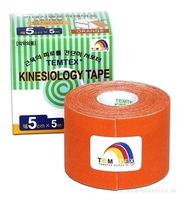 TEMTEX KINESOLOGY TAPE tejpovacia páska, 5 cm x 5 m, oranžová 1x1 ks