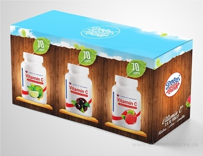 Dobré z SK Vitamín C Výhodné balenie tbl 200 mg (príchuť: malina + acai + limetka) 3x70 ks (210 ks)