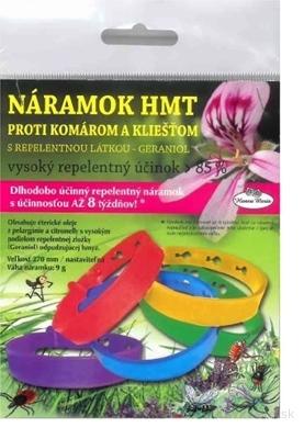 Náramok HMT proti komárom a kliešťom s repelentnou látkou GERANIOL 1x1 ks