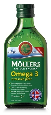 MOLLER´S Omega 3 RYBÍ OLEJ Natur z pečene tresiek 1x250 ml