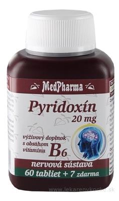 MedPharma PYRIDOXÍN 20 mg (vitamín B6) tbl 60+7 zadarmo (67 ks)