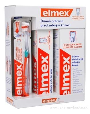 ELMEX CARIES PROTECTION SYSTÉM PROTI ZUBNÉMU KAZU zubná kefka 1 ks + zubná pasta 75 ml + ústna voda 400 ml, 1x1 set