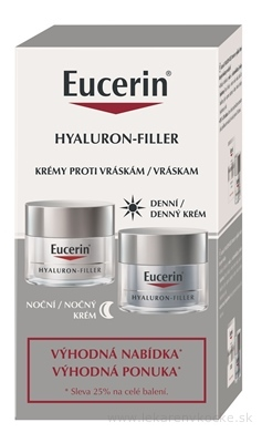 Eucerin HYALURON-FILLER krémy denný pre suchú pleť 50 ml + nočný 50 ml (výhodná ponuka) 1x1 set