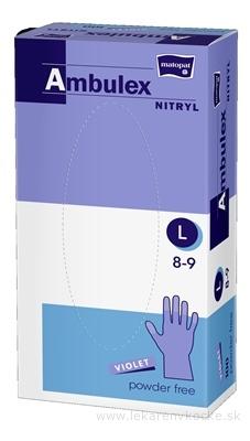 Ambulex rukavice NITRYLOVÉ veľ. L, fialové, nesterilné, nepúdrované, 1x100 ks