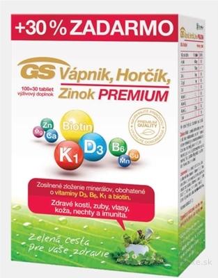 GS Vápnik, Horčík, Zinok PREMIUM tbl 100+30 (30% zadarmo) (130 ks)