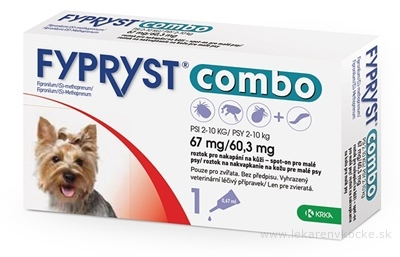 FYPRYST combo 67 mg/60,3 mg PSY 2-10 KG roztok na kvapkanie na kožu pre malé psy (pipeta) 1x0,67 ml
