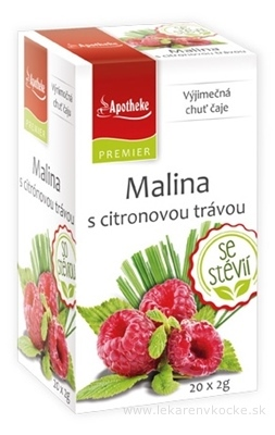 APOTHEKE PREMIER Malina s citrónovou trávou ovocný čaj (so stéviou) v nálevových vreckách 20x2 g (40 g)