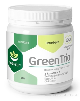 topnatur GREEN TRIO tbl (spirulina, chlorella, zelený jačmeň) 1x540 ks