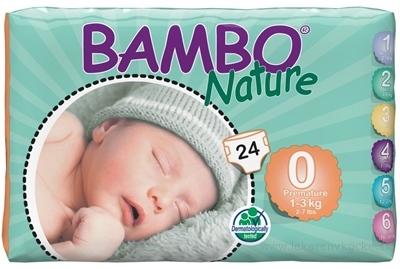 BAMBO PREMATURE 0 (1-3 kg) detské plienky pre nedonosené deti, 1x24 ks