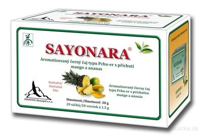 SAYONARA čierny čaj aromatizovaný, príchuť ananás, mango 20x1,5 g (30 g)