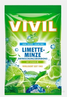 VIVIL BONBONS LIMETTE-MINZE drops s príchuťou limetka-pepermint s vitamínom C, bez cukru 1x80 g