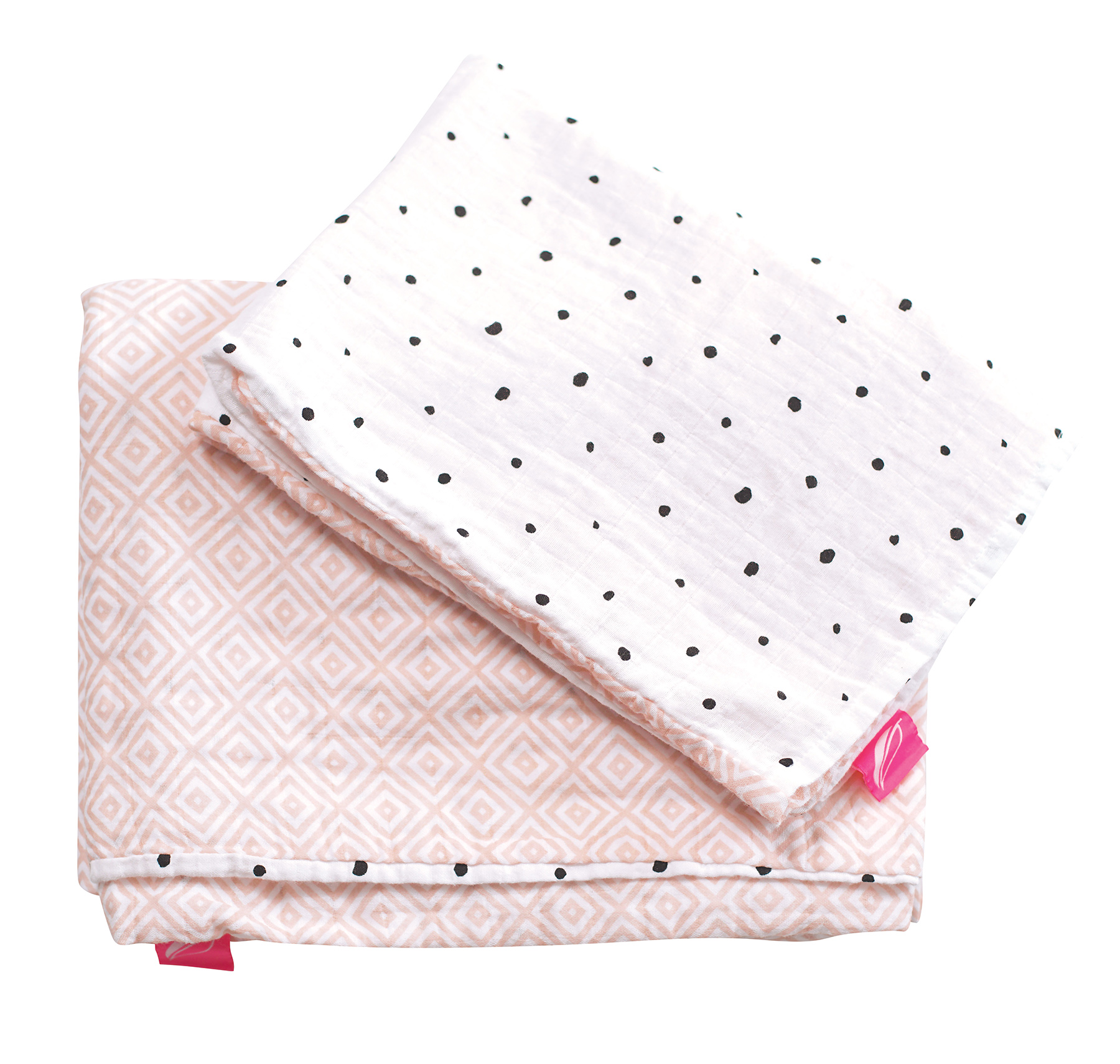 Obliečky bavlnené mušelínové do postieľky Pre-Washed Pink Squares 2-dielne