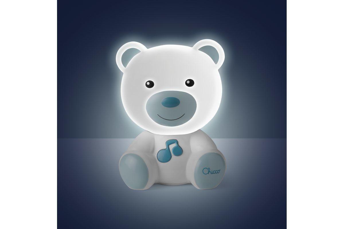 Nočné svetielko hudobné Macko modré 0m+